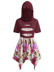 Plus Size Handkerchief Floral Cami With Hooded Ripped Top -