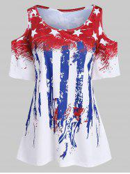 Plus Size American Flag Cold Shoulder T Shirt -