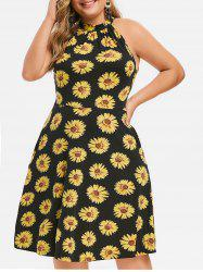 Knotted Sunflower Seam Pockets Plus Size Dress -