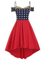 Stars Cold Shoulder High Low Plus Size Dress -