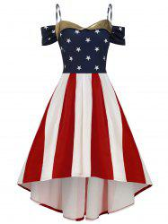 American Flag Cold Shoulder High Low Plus Size Dress -