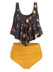 Sun Stars Moon Flounce High Waisted Tankini Swimsuit -
