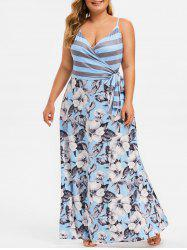 Knotted Stripes Floral Maxi Plus Size Dres -