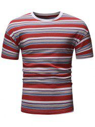 Striped Pattern Decoration Short Sleeves T-shirt -