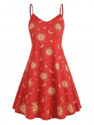 Plus Size Sun Stars Moon Cami Dress -