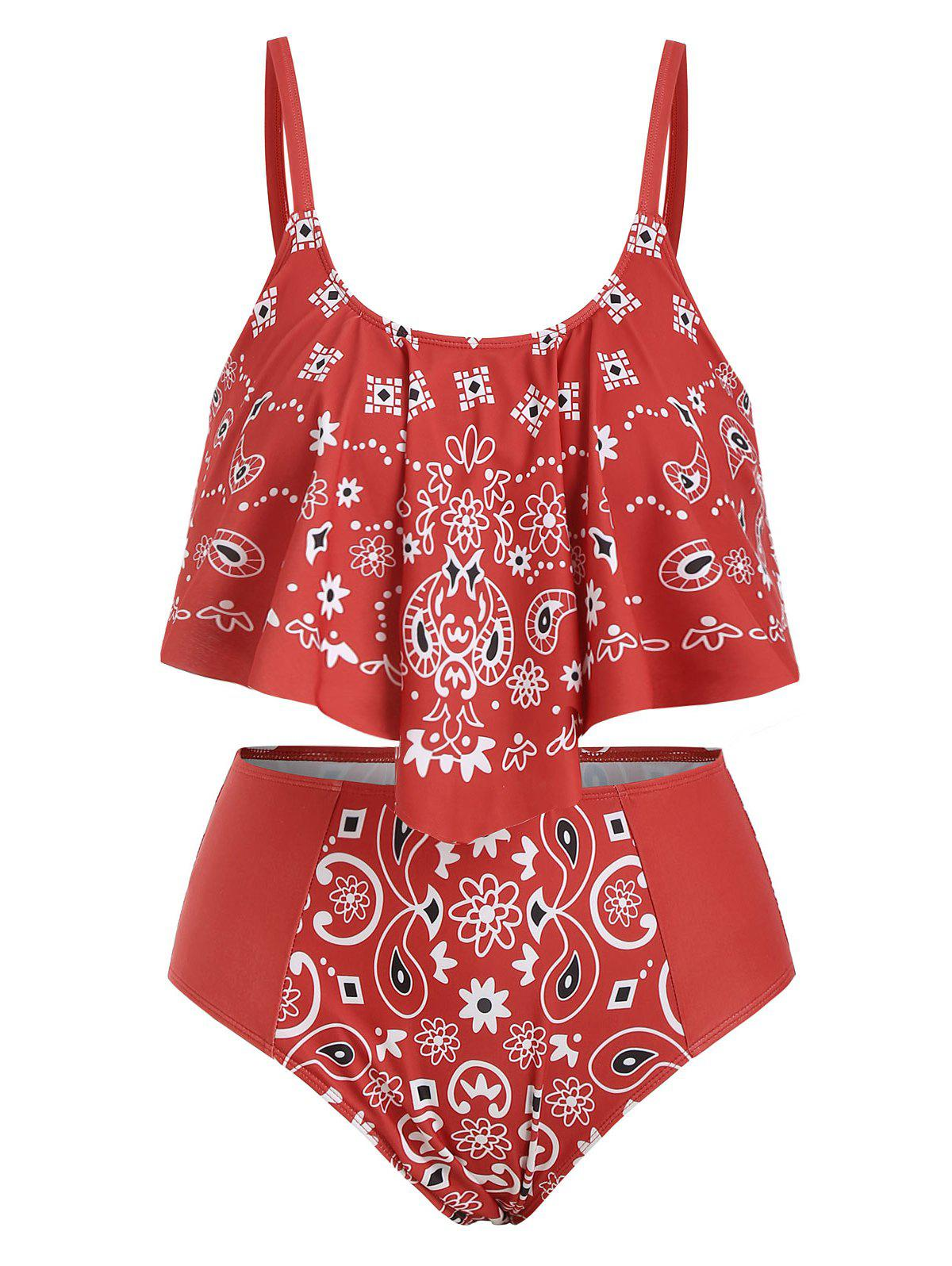 Outfits Overlay Ruffles Paisley Printed Plus Size Tankini Set