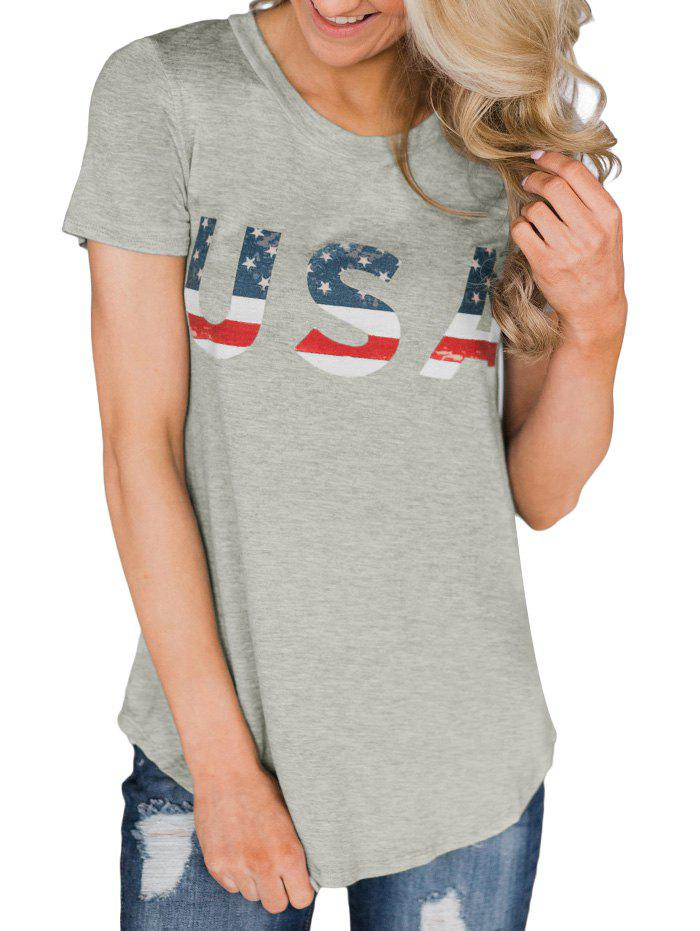 New American Flag Short Sleeve Tunic Tee