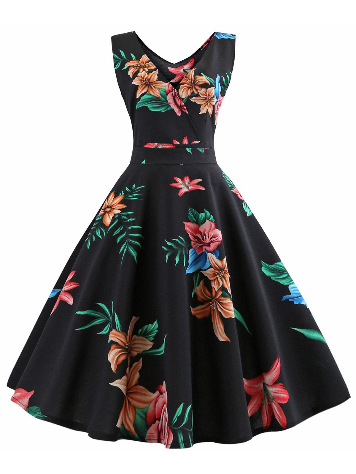 Outfits Sleeveless Floral Print Belted Flare Dress