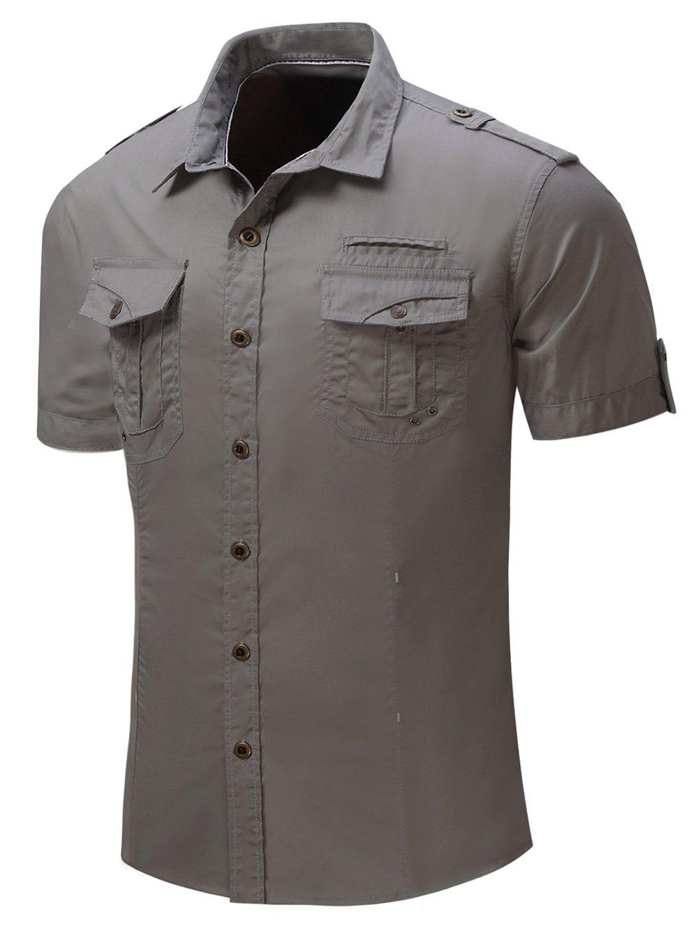 Discount Pocket Decoration Short Sleeves Cargo Shirt