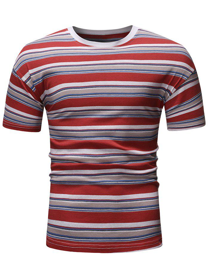Trendy Striped Pattern Decoration Short Sleeves T-shirt