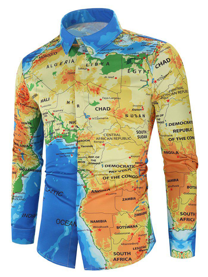 African Map Print Hidden Button Shirt