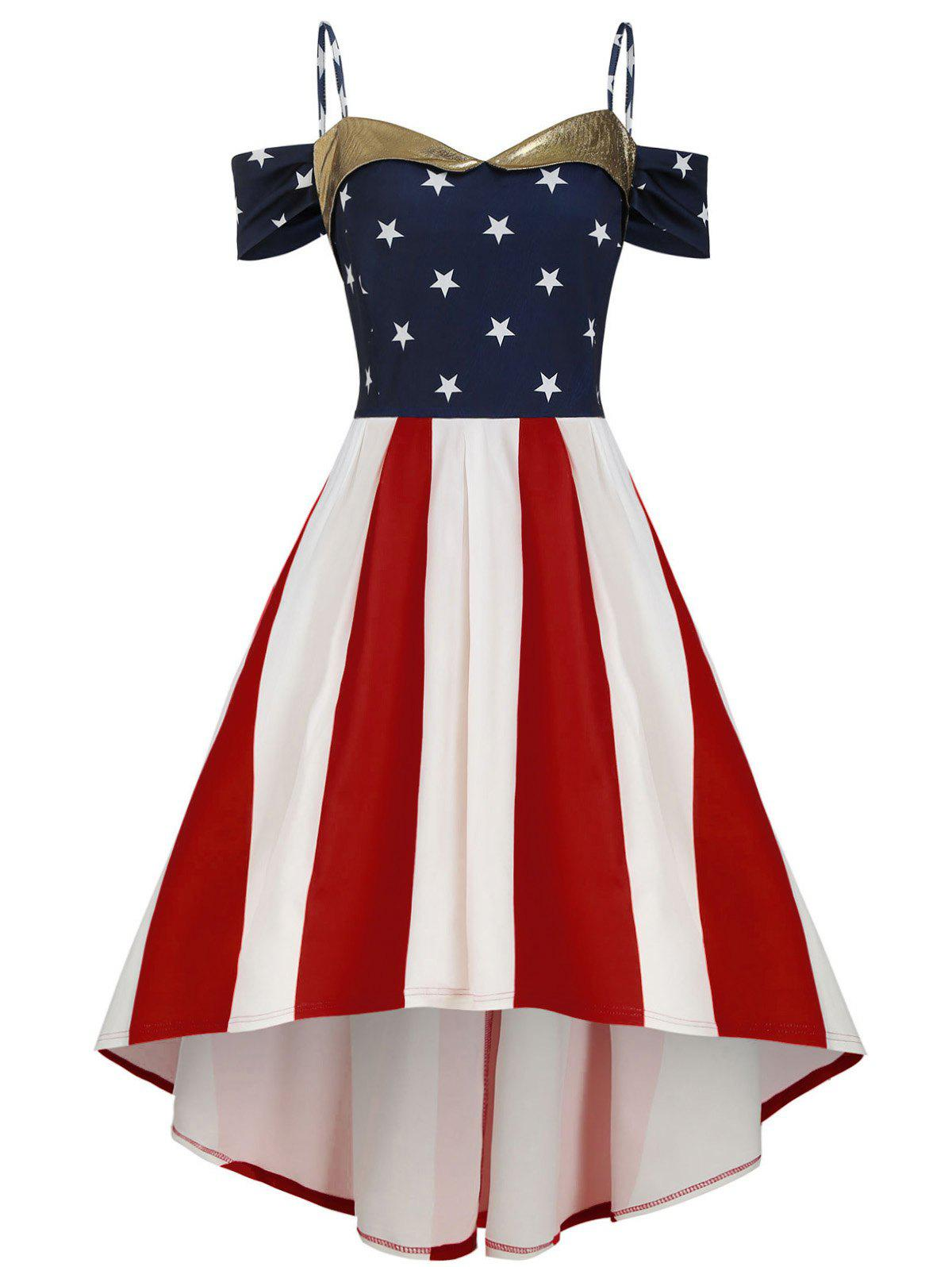 American Flag Cold Shoulder High Low Plus Size Dress