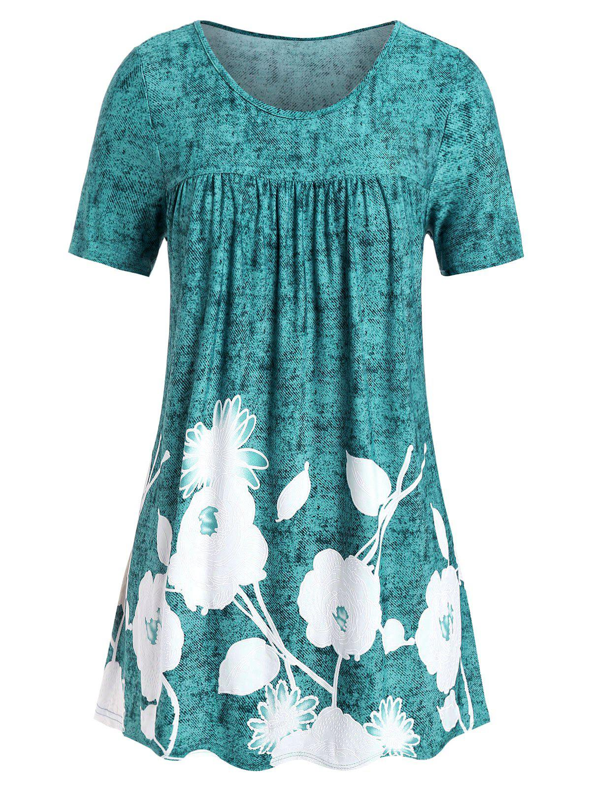Outfits Plus Size Floral Print Flare T Shirt