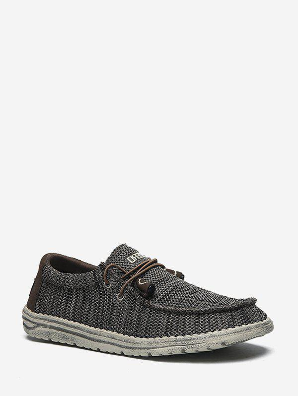 Cheap Moc Toe Striped Knit Casual Shoes