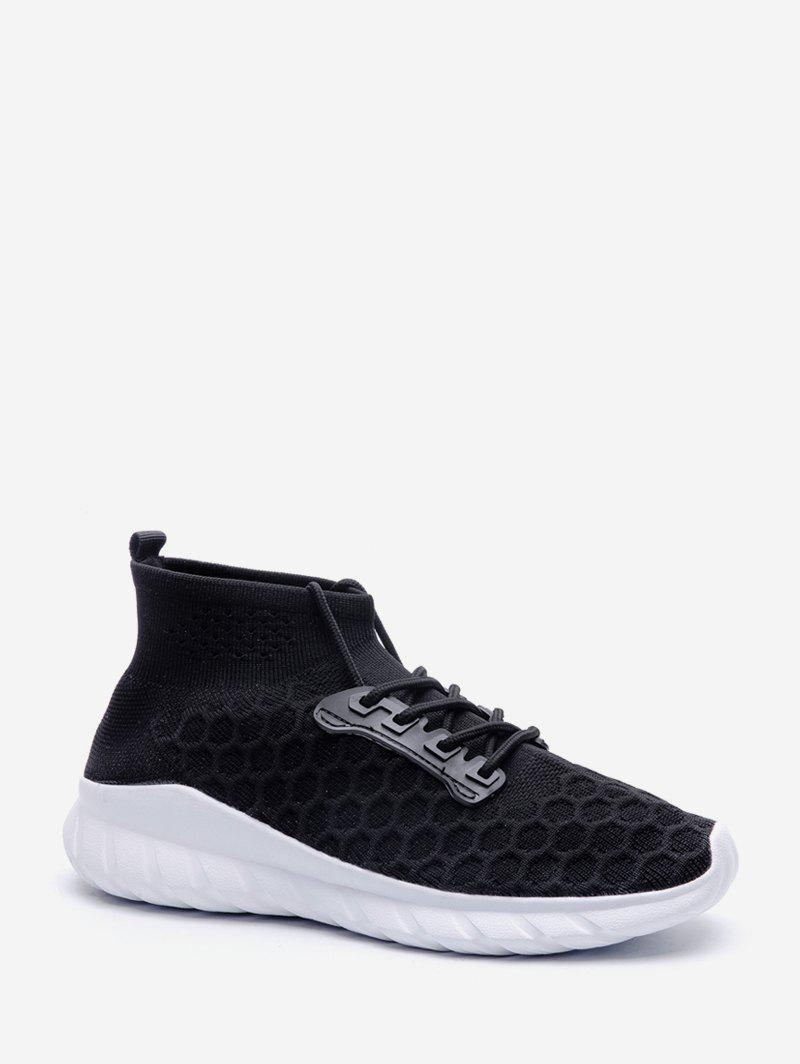 Unique Geometric High Top Knit Sneakers