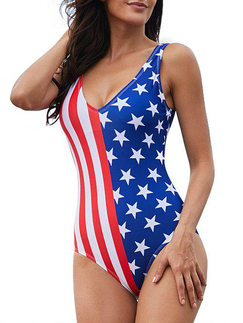 Online American Flag Plunge One-Piece Swimsuit