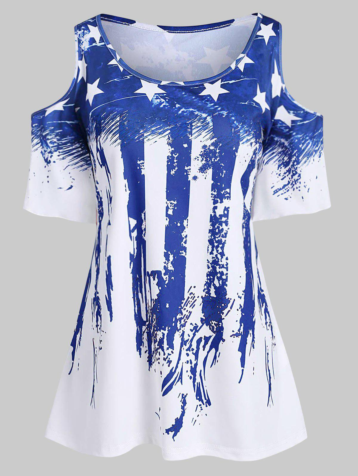 Outfit Plus Size American Flag Cold Shoulder T Shirt