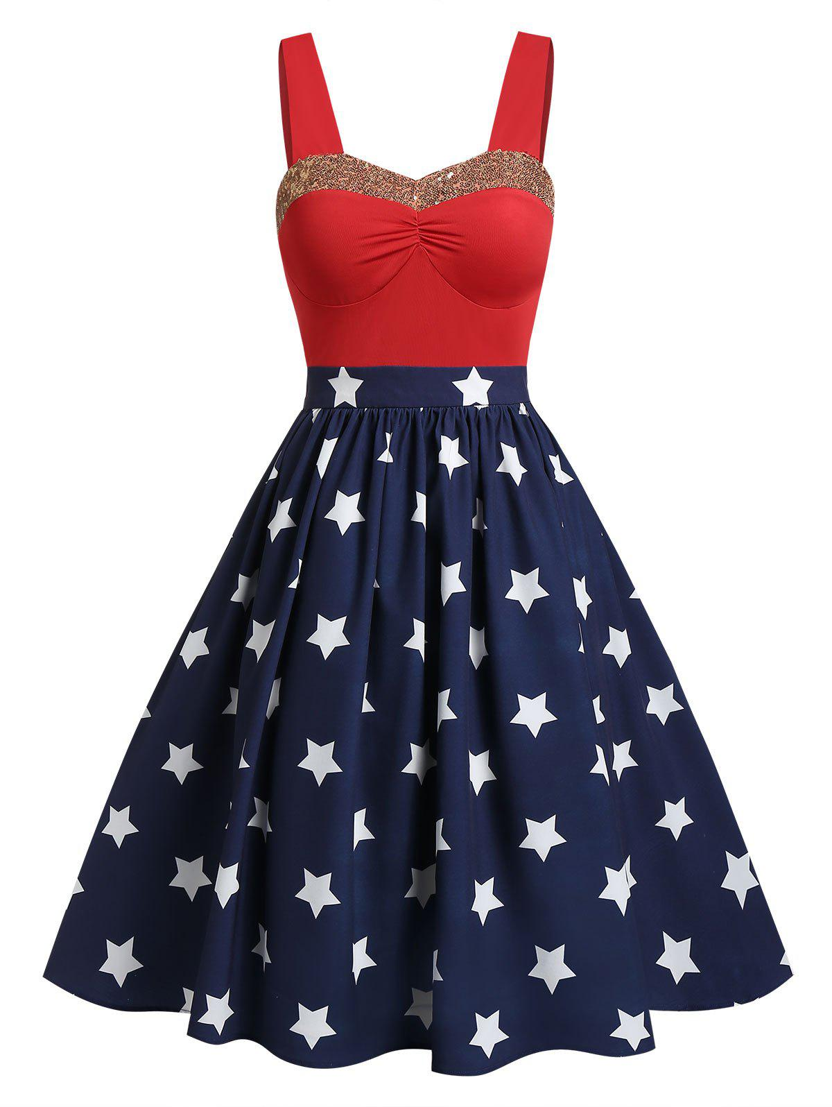 Chic Sweetheart Collar Glitter American Flag Print Dress