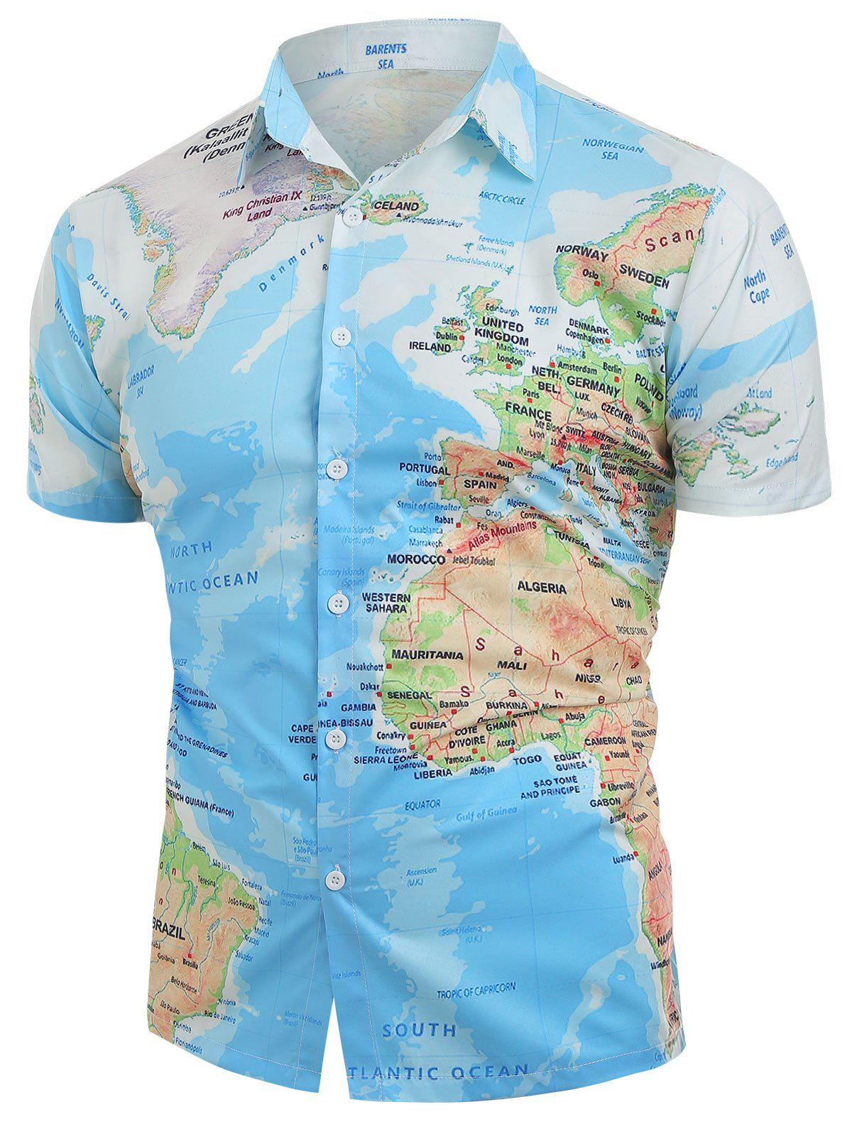Outfit World Map Pattern Button Down Shirt