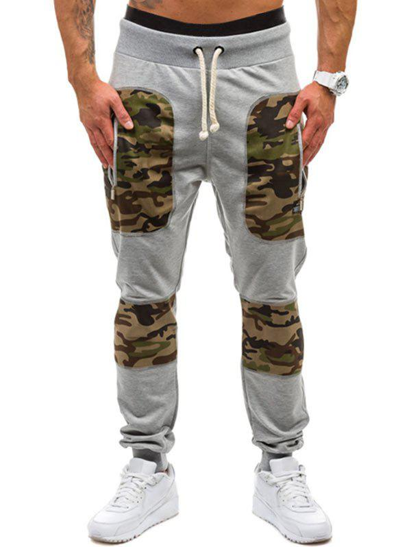 Camouflage Print Leisure Jogger Pants, Light gray
