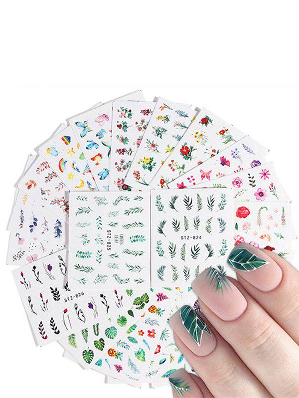 Shop 20PCs Leaves Rainbow Flamingo FLower Pattern Nail Decals