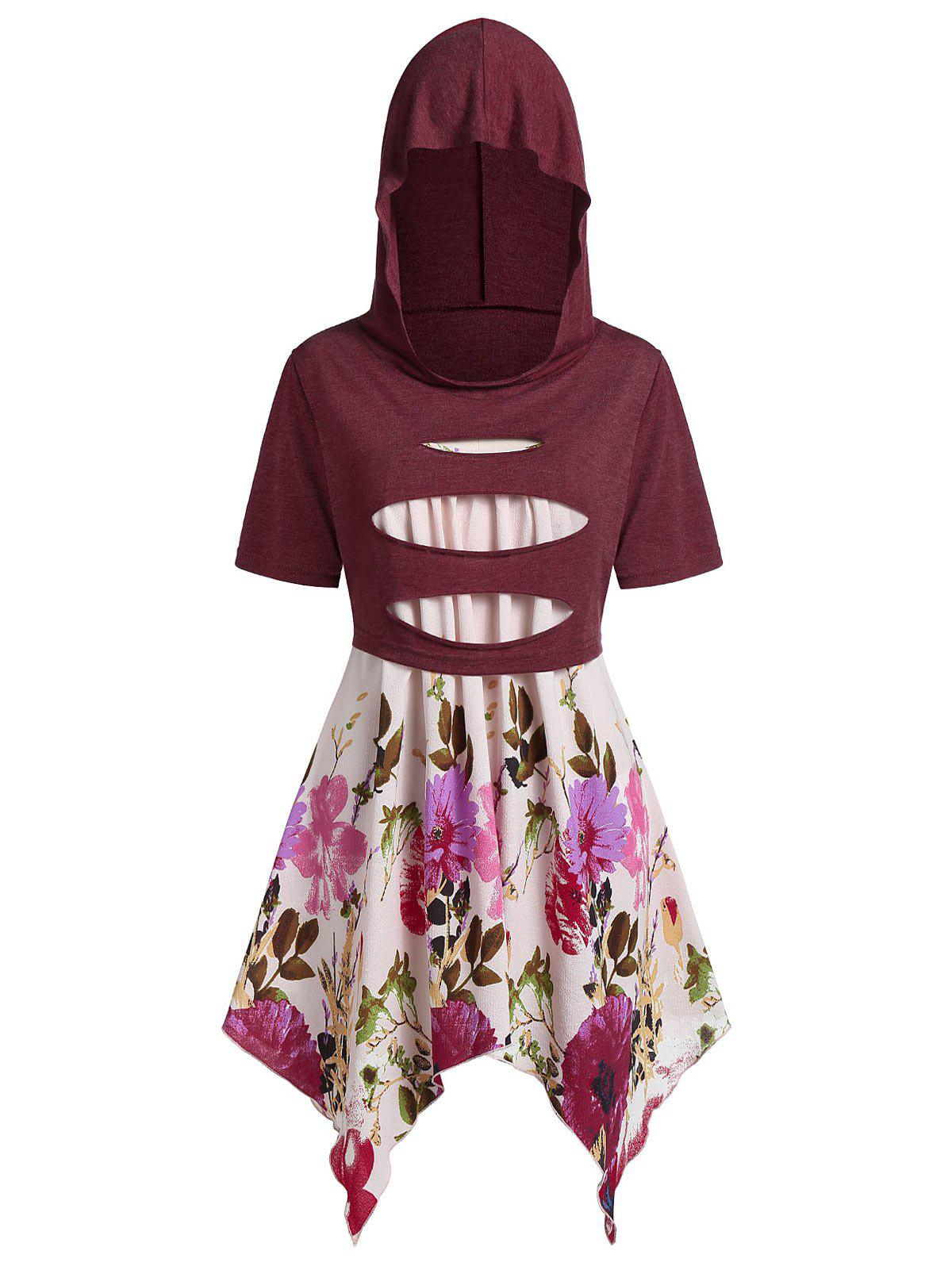 Buy Plus Size Handkerchief Floral Cami With Hooded Ripped Top