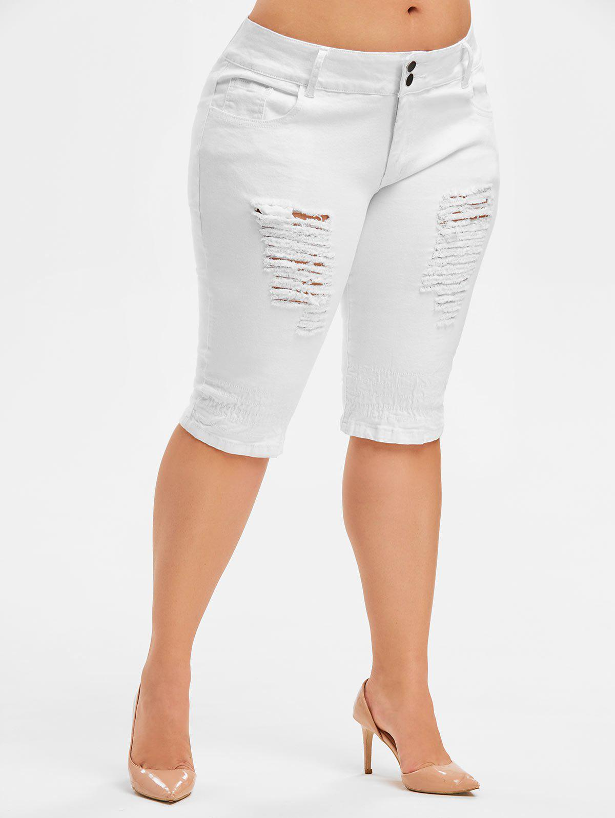 Affordable Plus Size Ripped Knee Length Jeans