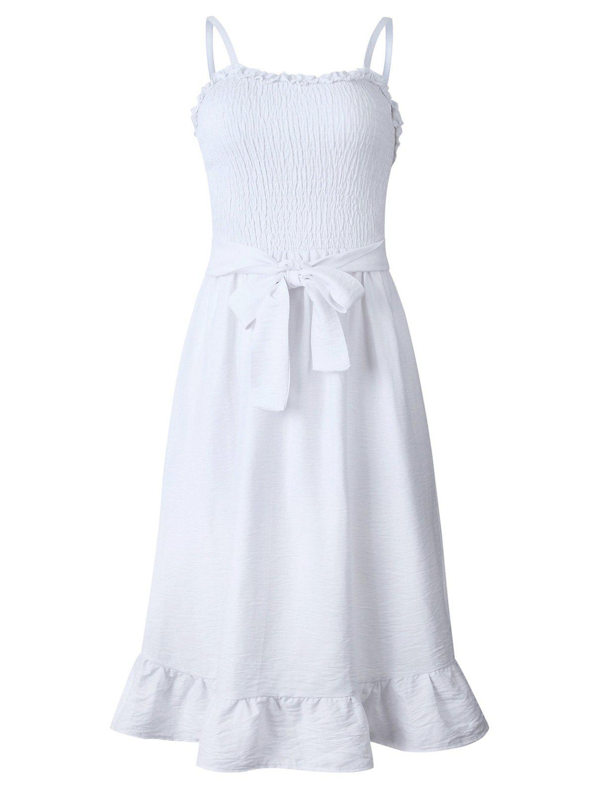 Sale Frilled Smocked A Line Belted Dress