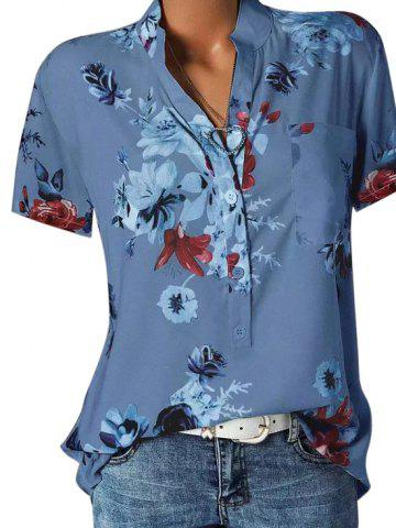 Front Pocket Floral V Neck Blouse