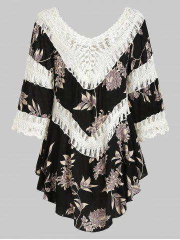 Plant Print Crochet Panel Cover-up