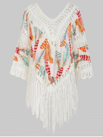Crochet Panel Feather Print Fringed Cover-up