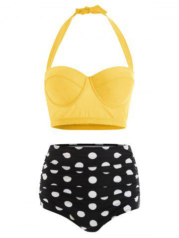 Polka Dot Plus Size Halter High Waisted 50s Bikini