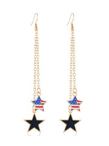 American Flag Star Long Earrings