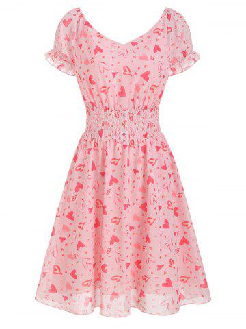 Heart Print Buttons Smocked Waist Dress