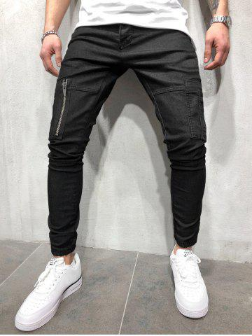 Zipper Pocket Solid Color Jogger Pants
