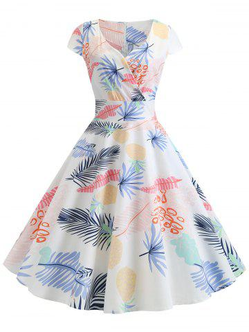Leaf Pineapple Print Surplice Dress