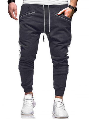 Zipper Decoration Drawstring Jogger Pants