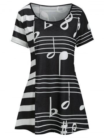 Musical Note Print Striped T-shirt