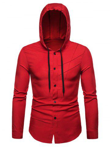 Solid Color Hooded Long Sleeves Shirt