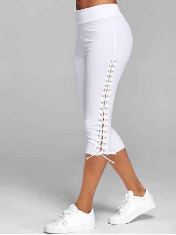 Lace Up Capri Leggings - WHITE - 2XL