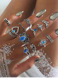 13Pcs Vintage Hollow Faux Gem Ring Set -
