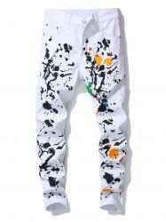 Splatter Painting Decoration Casual Jeans -