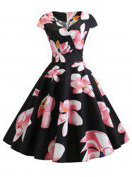 Floral Surplice Retro Dress -