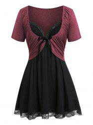 Plus Size Pleated T Shirt with Lace Panel Tank Top -