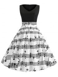 V Neck Musical Note Print Dress -
