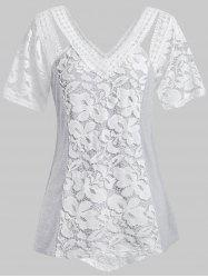 Plus Size Lace Insert See Thru Cut Out T Shirt -