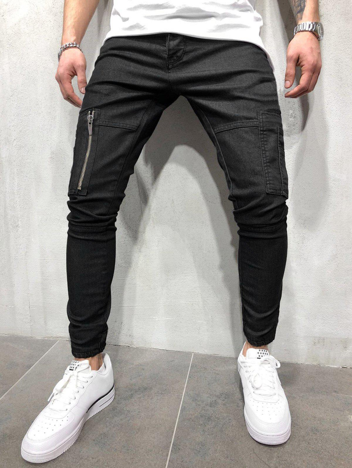 Latest Zipper Pocket Solid Color Jogger Pants