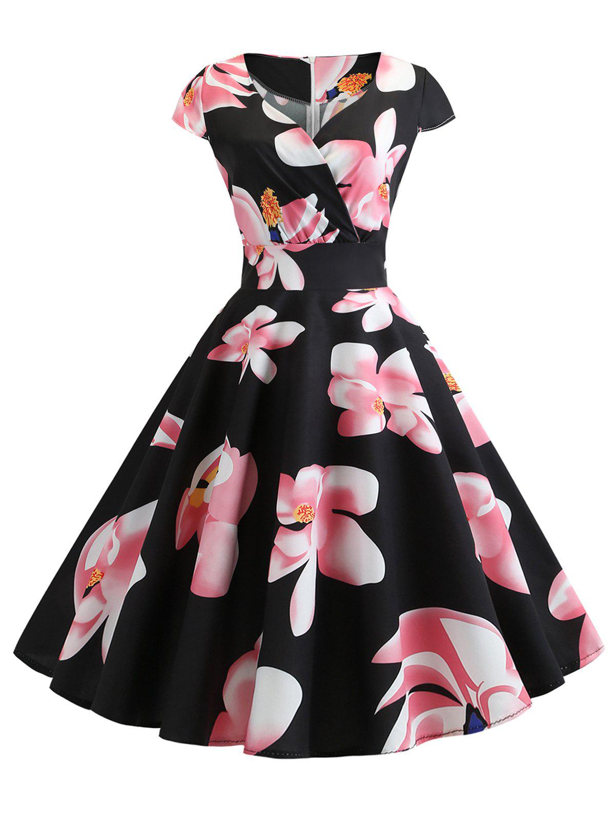 Latest Floral Surplice Retro Dress
