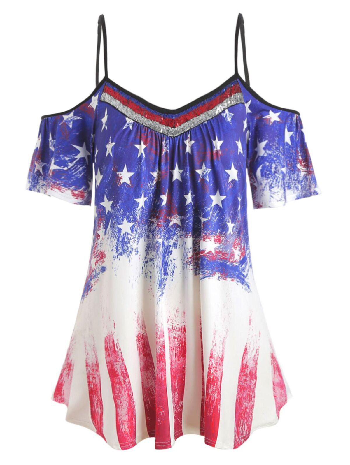 Fancy Plus Size Cold Shoulder American Flag T-shirt