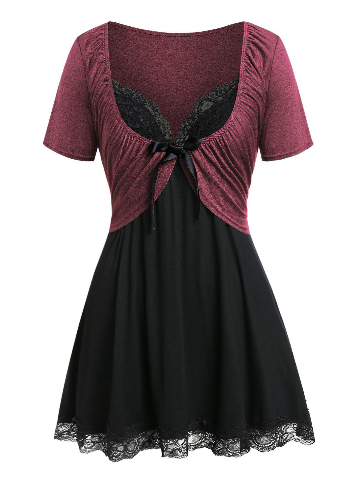 Online Plus Size Pleated T Shirt with Lace Panel Tank Top